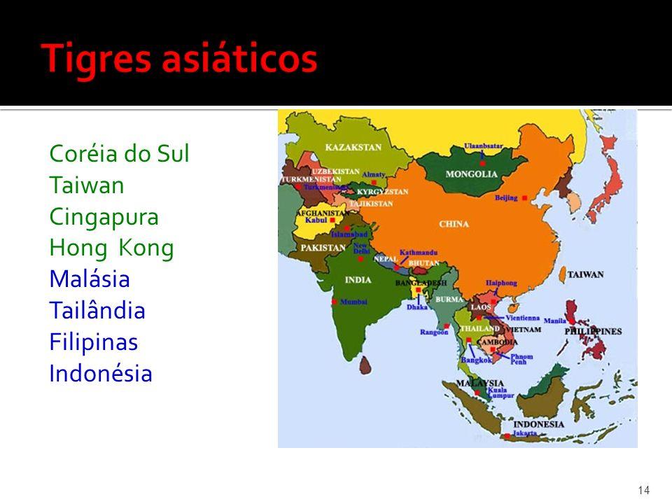Tigres asiáticos Coréia do Sul Taiwan Cingapura Hong Kong Malásia Tailândia Filipinas Indonésia