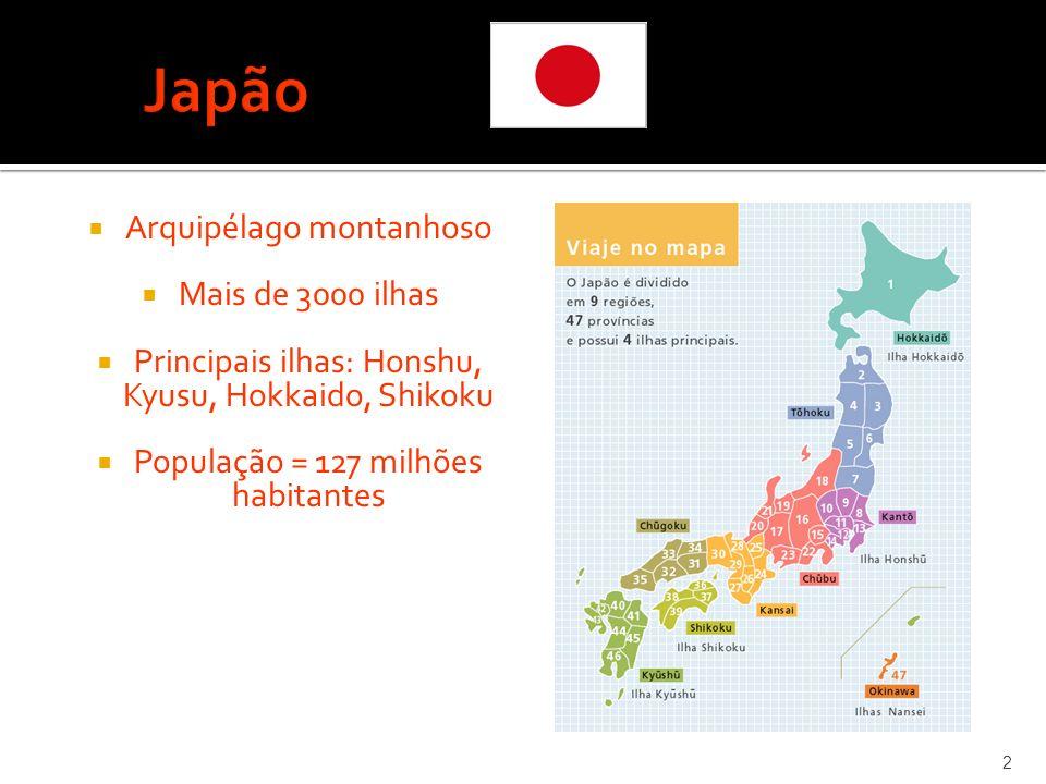 Japão Arquipélago montanhoso Mais de 3000 ilhas