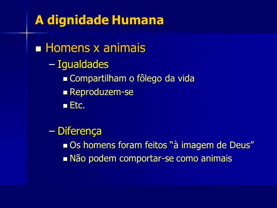 A dignidade Humana Homens x animais Igualdades Diferença