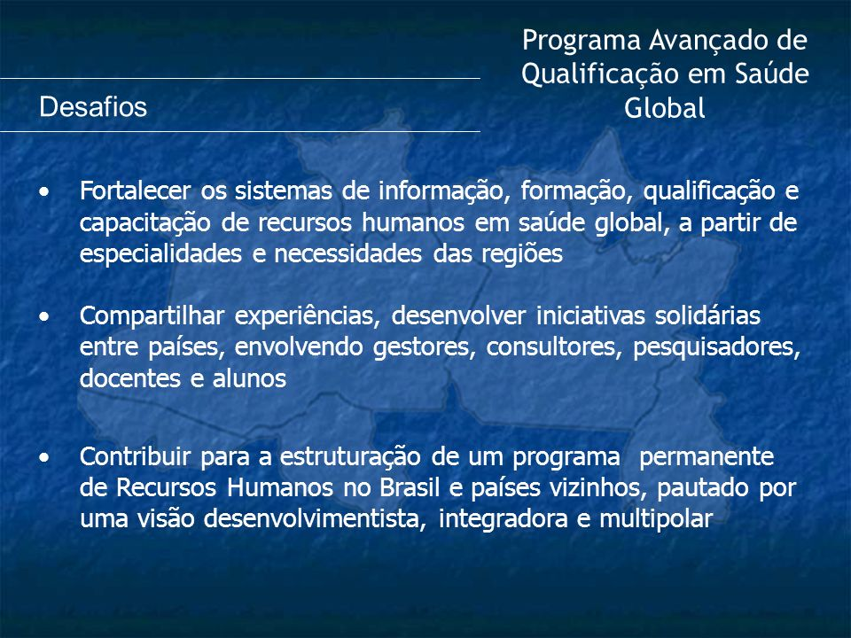 Programa Avançado de Qualificação em Saúde Global