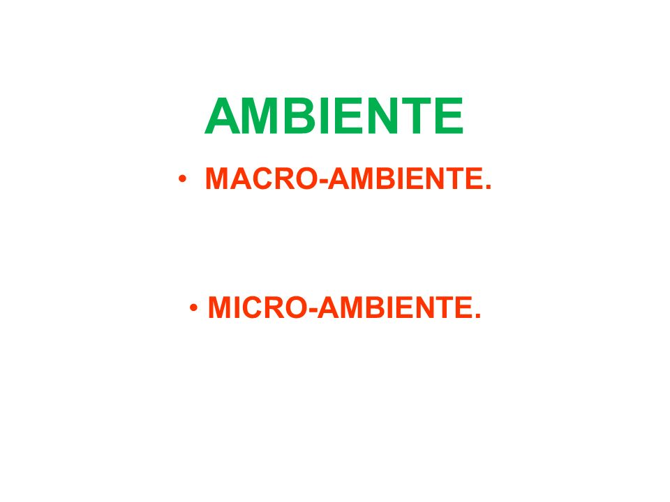 MACRO-AMBIENTE. MICRO-AMBIENTE.
