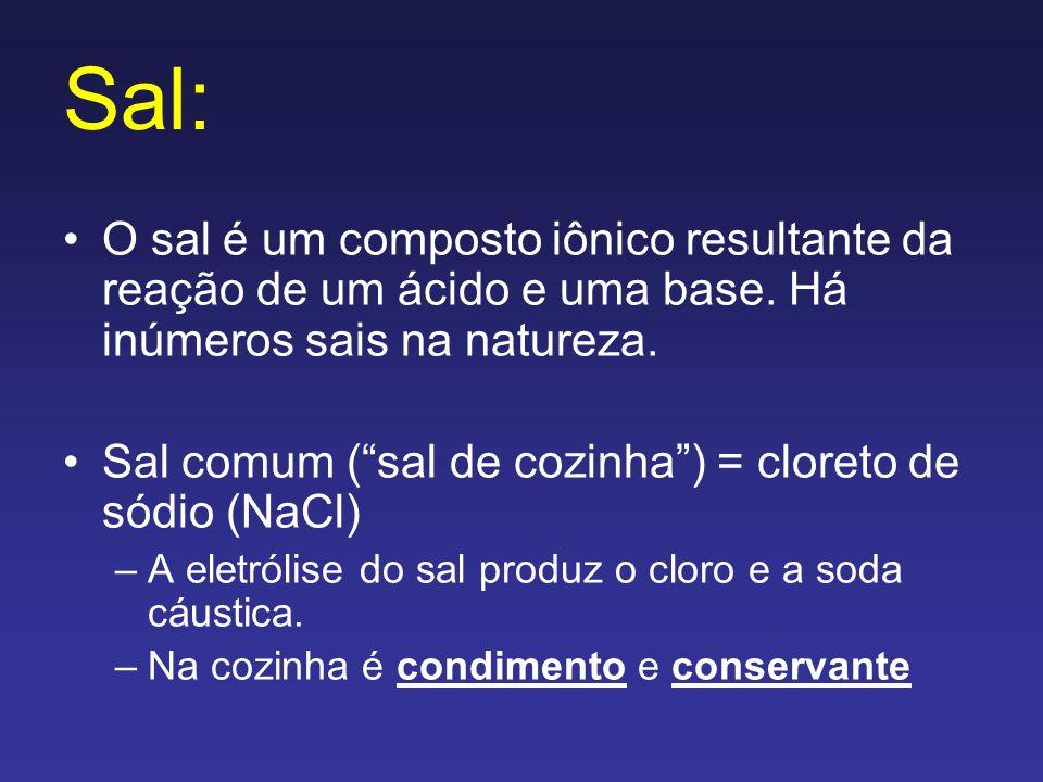 Sal:O sal é um composto iônico resultante da reação de um ácido e uma base. Há inúmeros sais na natureza.