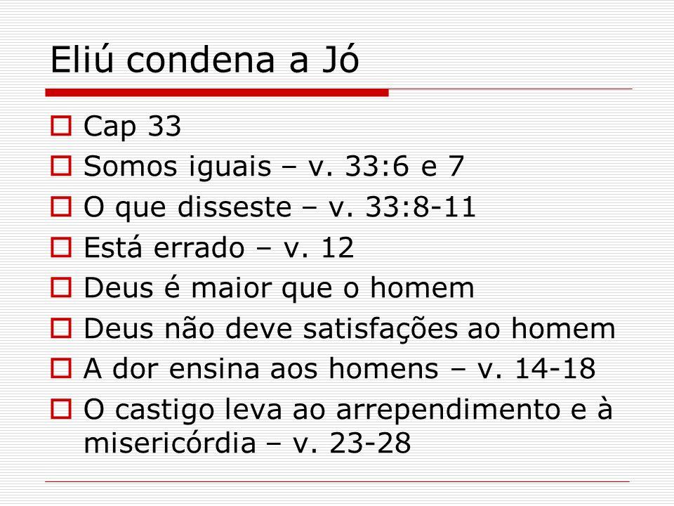 Eliú condena a Jó Cap 33 Somos iguais – v. 33:6 e 7
