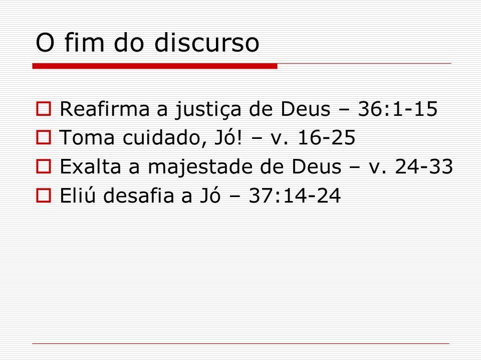 O fim do discurso Reafirma a justiça de Deus – 36:1-15