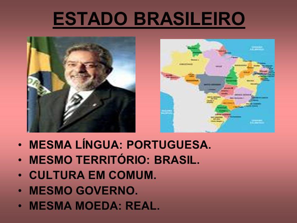 ESTADO BRASILEIRO MESMA LÍNGUA: PORTUGUESA. MESMO TERRITÓRIO: BRASIL.