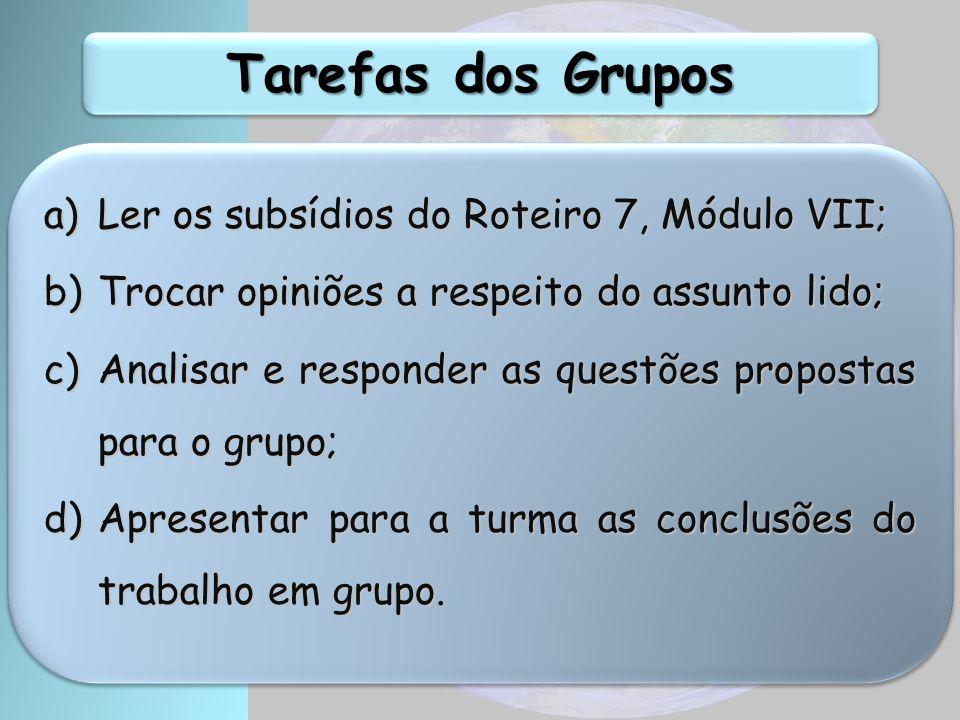 Tarefas dos Grupos Ler os subsídios do Roteiro 7, Módulo VII;