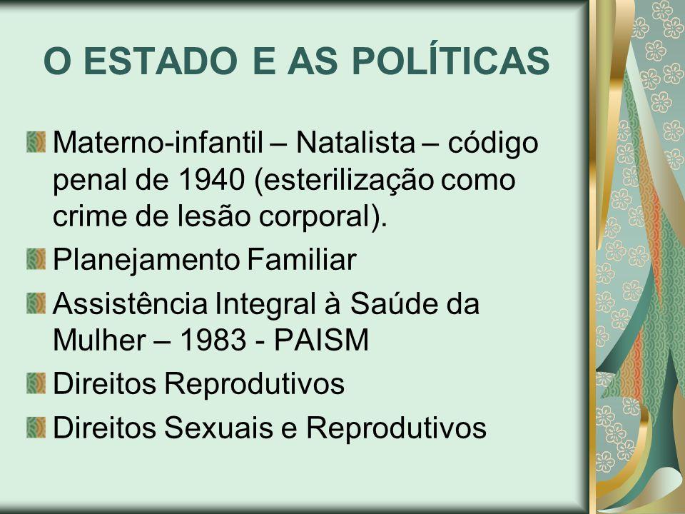 O ESTADO E AS POLÍTICASMaterno-infantil – Natalista – código penal de 1940 (esterilização como crime de lesão corporal).
