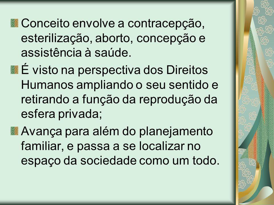 Conceito envolve a contracepção, esterilização, aborto, concepção e assistência à saúde.