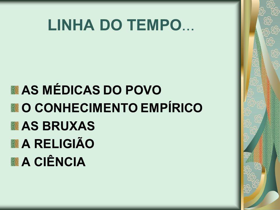 LINHA DO TEMPO... AS MÉDICAS DO POVO O CONHECIMENTO EMPÍRICO AS BRUXAS