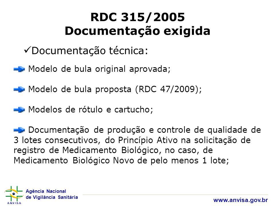 RDC 315/2005 Documentação exigida