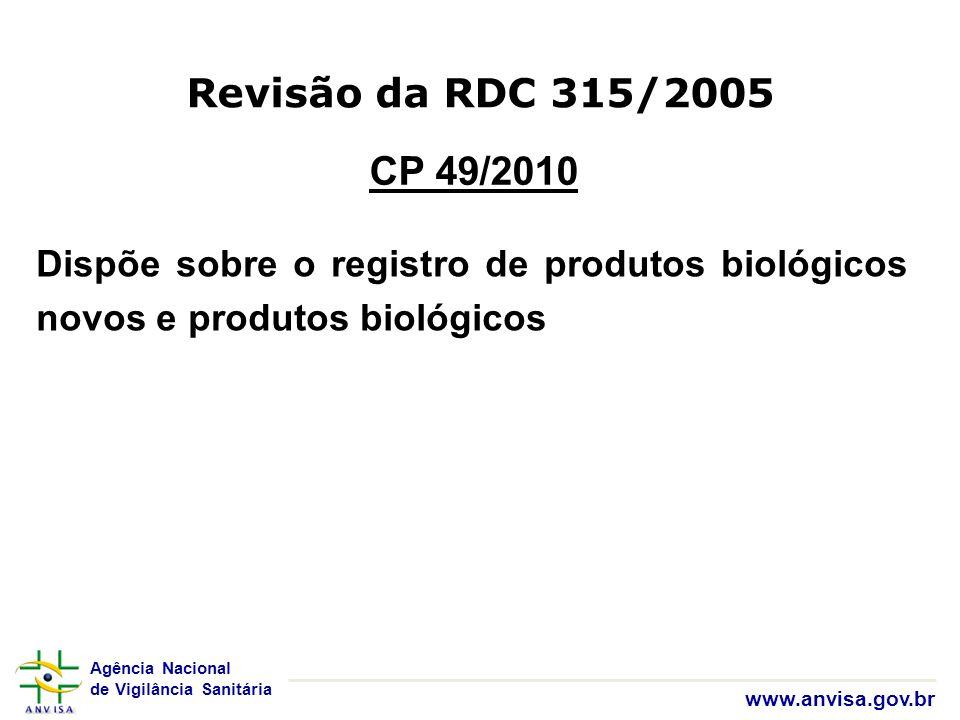 Revisão da RDC 315/2005 CP 49/2010.