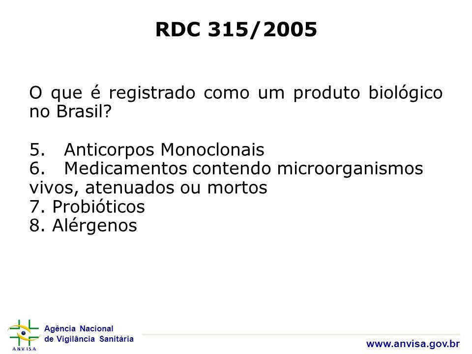 RDC 315/2005 O que é registrado como um produto biológico no Brasil