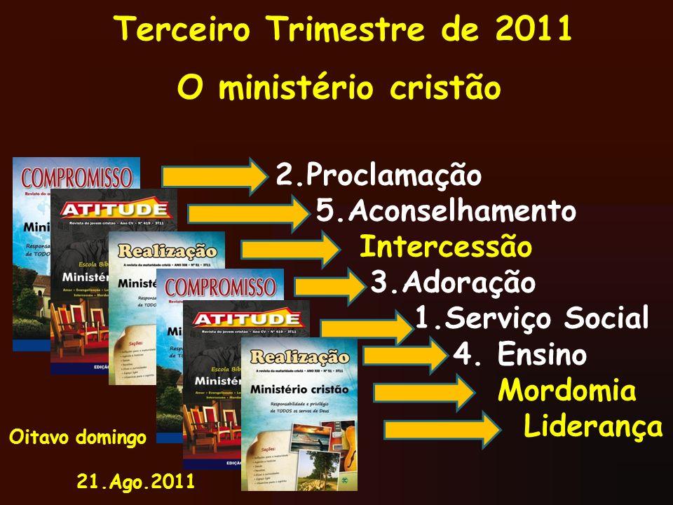 O ministério cristão 2.Proclamação 5.Aconselhamento Intercessão
