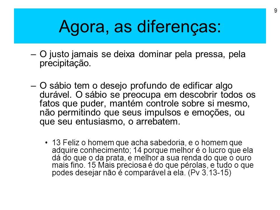 Agora, as diferenças: O justo jamais se deixa dominar pela pressa, pela precipitação.