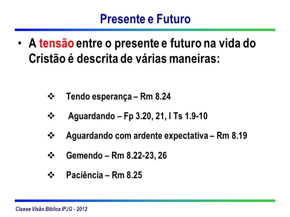 Presente e Futuro A tensão entre o presente e futuro na vida do Cristão é descrita de várias maneiras: