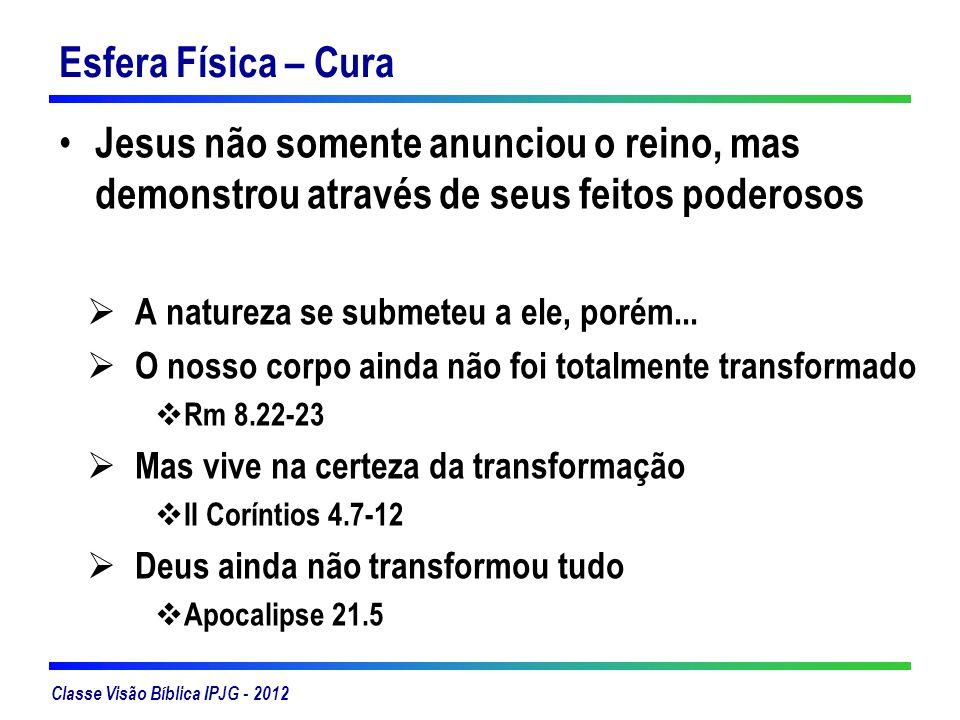 Esfera Física – Cura Jesus não somente anunciou o reino, mas demonstrou através de seus feitos poderosos.