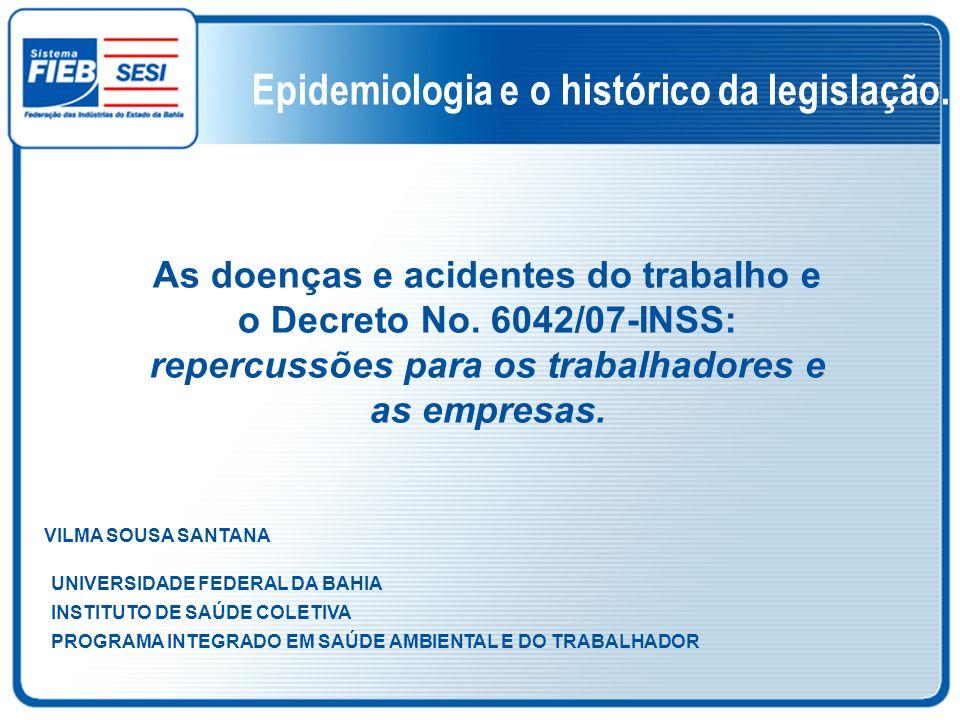Epidemiologia e o histórico da legislação.
