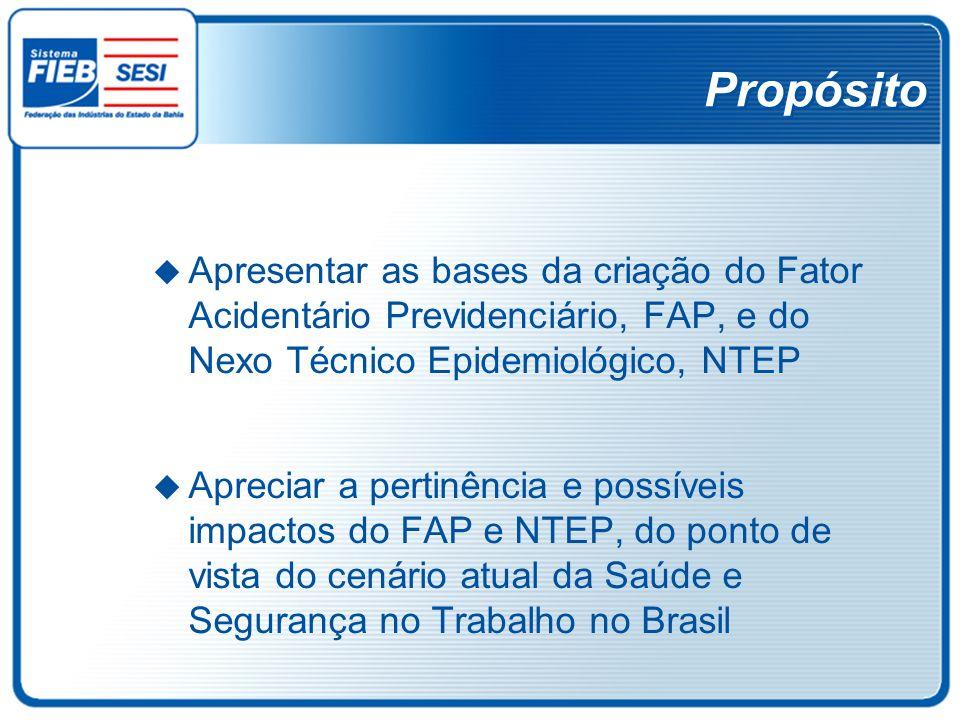 PropósitoApresentar as bases da criação do Fator Acidentário Previdenciário, FAP, e do Nexo Técnico Epidemiológico, NTEP.