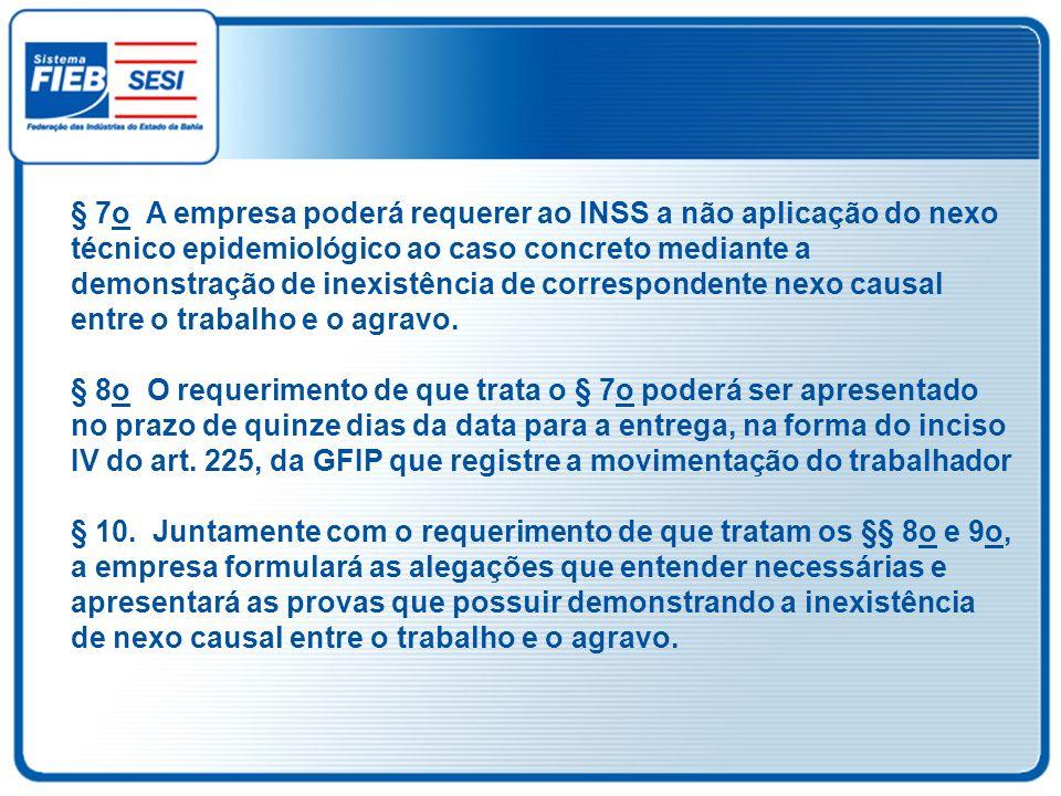 § 7o A empresa poderá requerer ao INSS a não aplicação do nexo técnico epidemiológico ao caso concreto mediante a demonstração de inexistência de correspondente nexo causal entre o trabalho e o agravo.