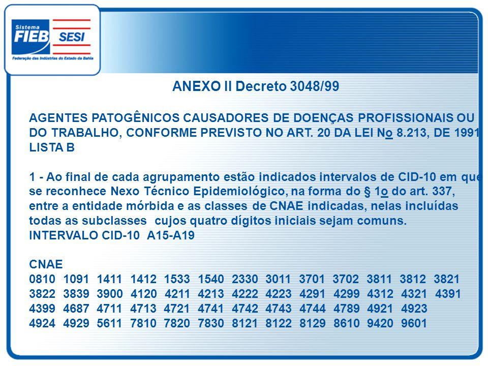 ANEXO II Decreto 3048/99