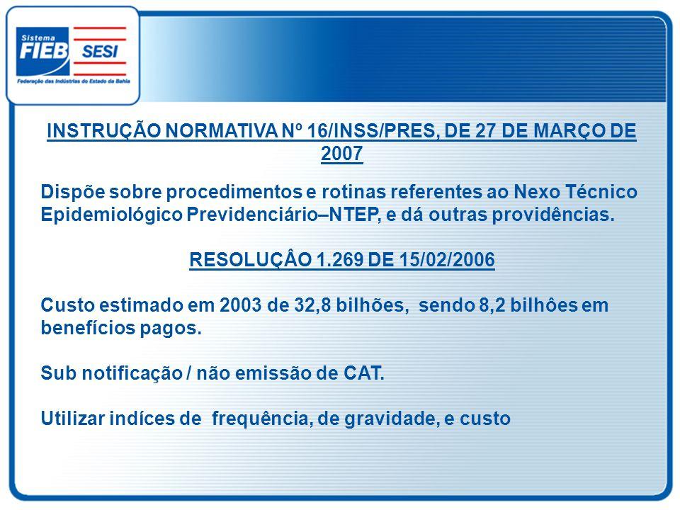 INSTRUÇÃO NORMATIVA Nº 16/INSS/PRES, DE 27 DE MARÇO DE 2007