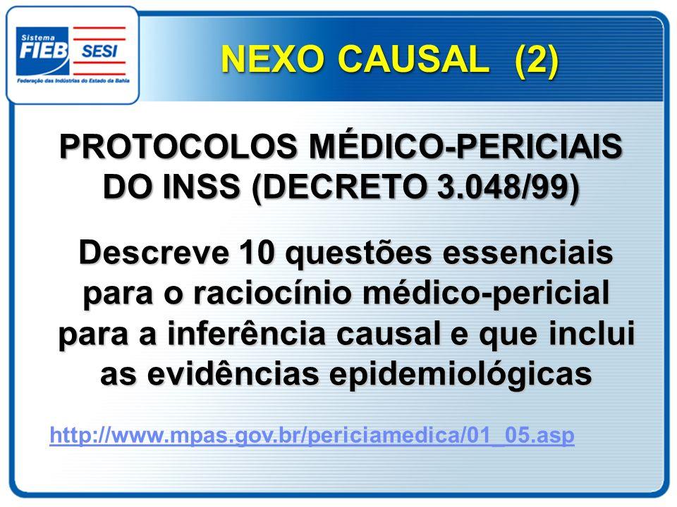 PROTOCOLOS MÉDICO-PERICIAIS DO INSS (DECRETO 3.048/99)