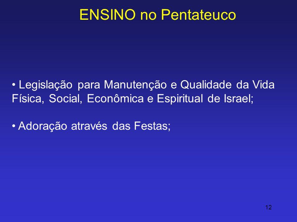 ENSINO no Pentateuco Legislação para Manutenção e Qualidade da Vida Física, Social, Econômica e Espiritual de Israel;