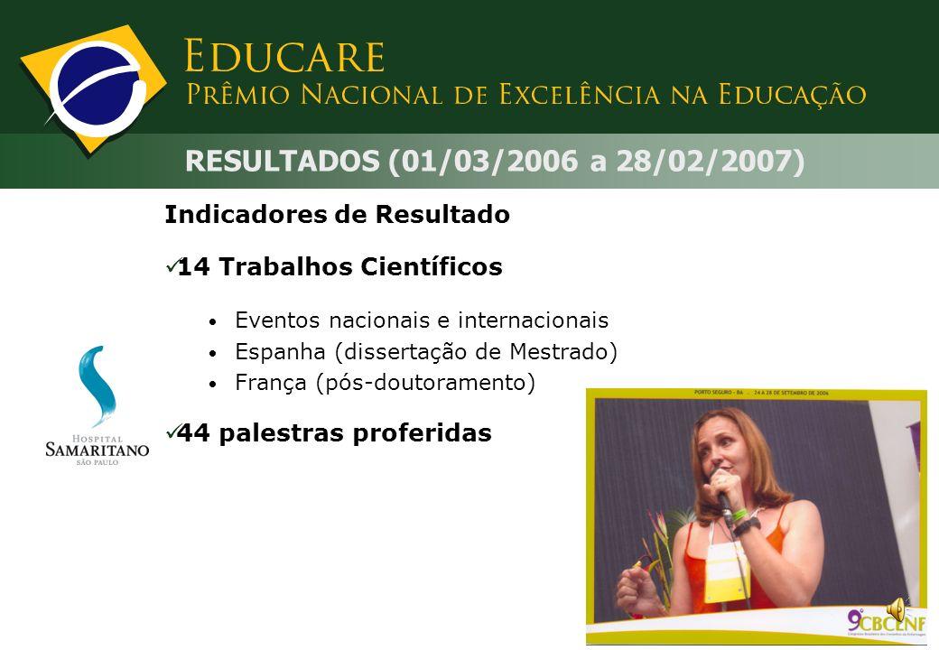 RESULTADOS (01/03/2006 a 28/02/2007) Indicadores de Resultado