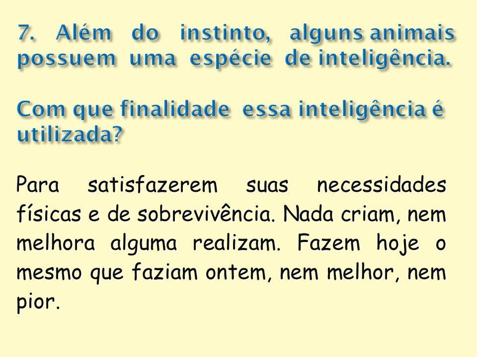 7. Além do instinto, alguns animais possuem uma espécie de inteligência. Com que finalidade essa inteligência é utilizada