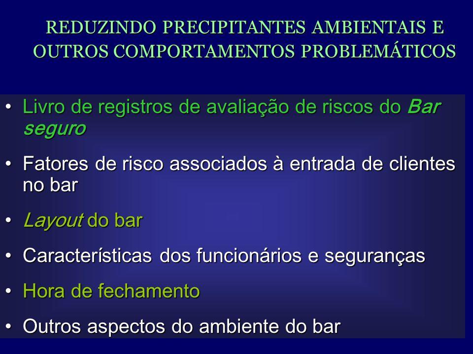 Livro de registros de avaliação de riscos do Bar seguro