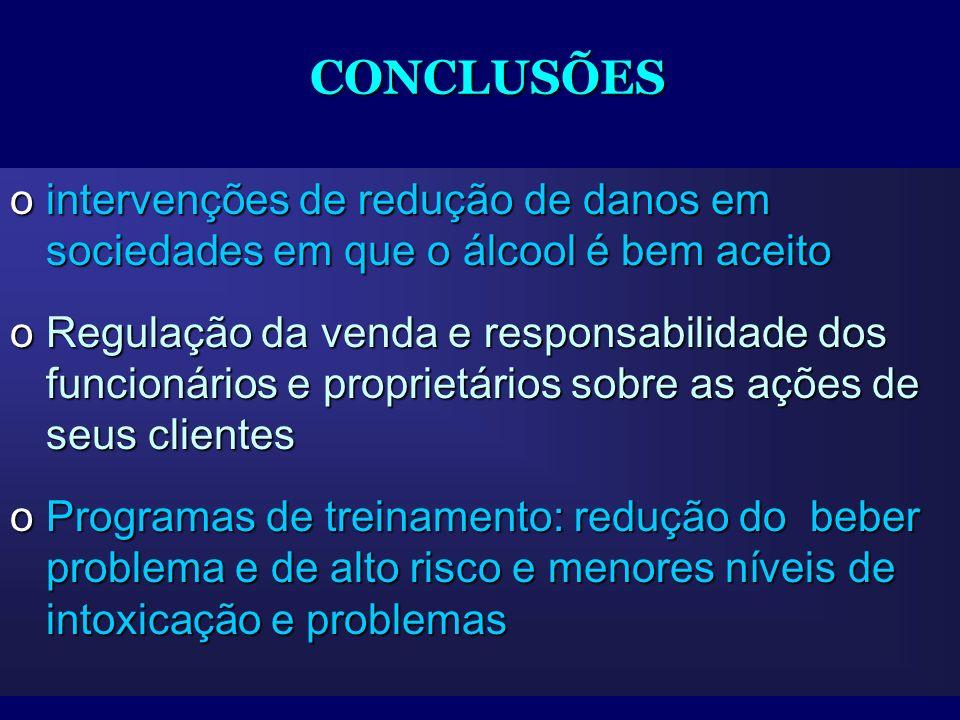 CONCLUSÕES intervenções de redução de danos em sociedades em que o álcool é bem aceito.