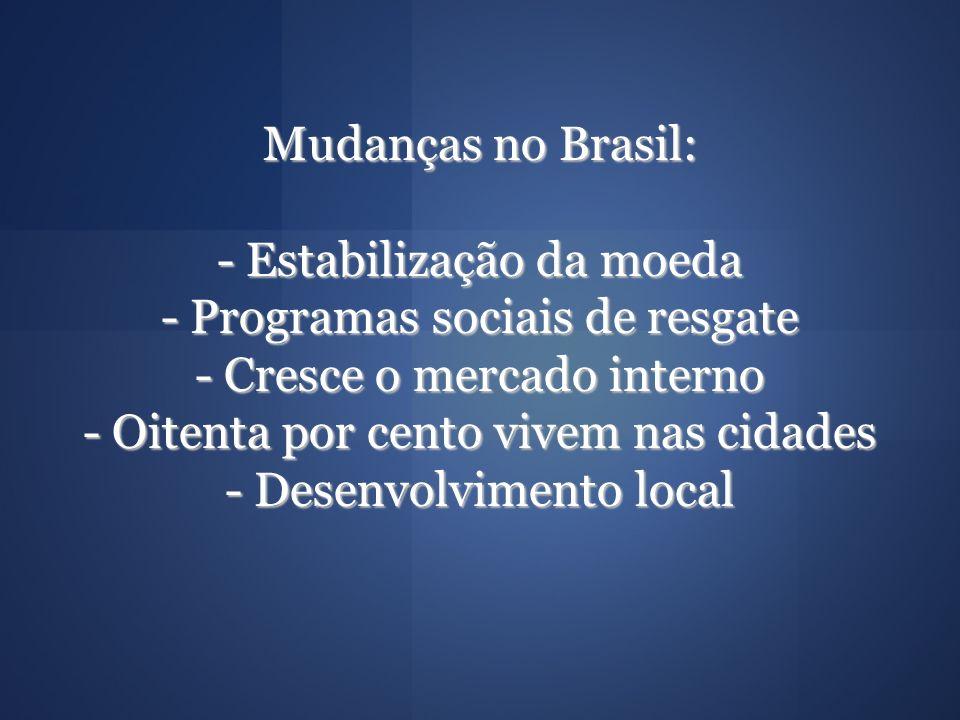 Mudanças no Brasil: - Estabilização da moeda - Programas sociais de resgate - Cresce o mercado interno - Oitenta por cento vivem nas cidades - Desenvolvimento local