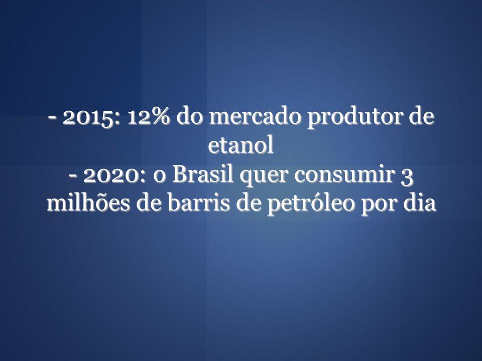 - 2015: 12% do mercado produtor de etanol - 2020: o Brasil quer consumir 3 milhões de barris de petróleo por dia