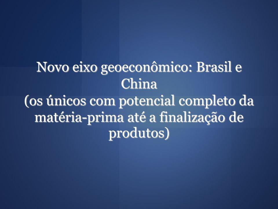 Novo eixo geoeconômico: Brasil e China (os únicos com potencial completo da matéria-prima até a finalização de produtos)