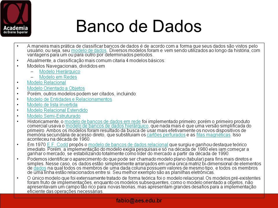 Banco de Dados fabio@aes.edu.br