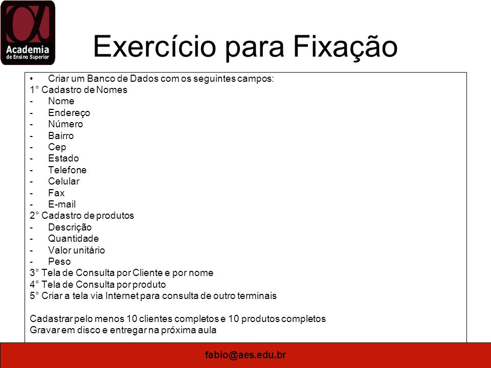 Exercício para Fixação