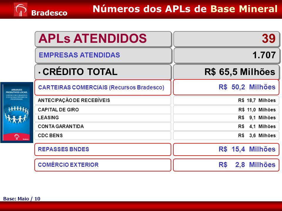 APLs ATENDIDOS 39 Números dos APLs de Base Mineral 1.707