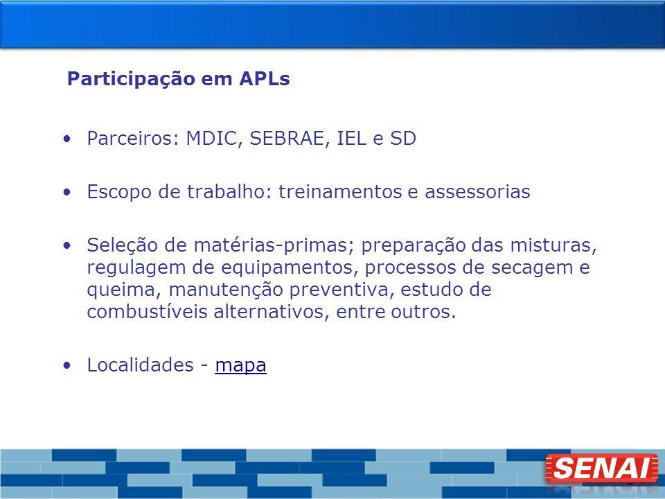 Participação em APLs Parceiros: MDIC, SEBRAE, IEL e SD. Escopo de trabalho: treinamentos e assessorias.