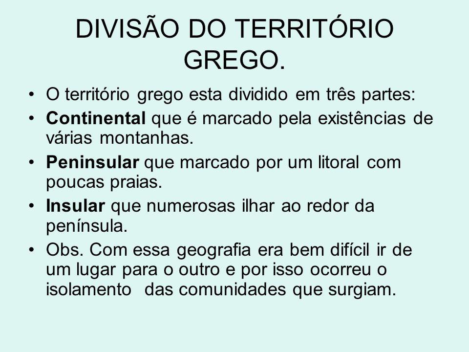 DIVISÃO DO TERRITÓRIO GREGO.
