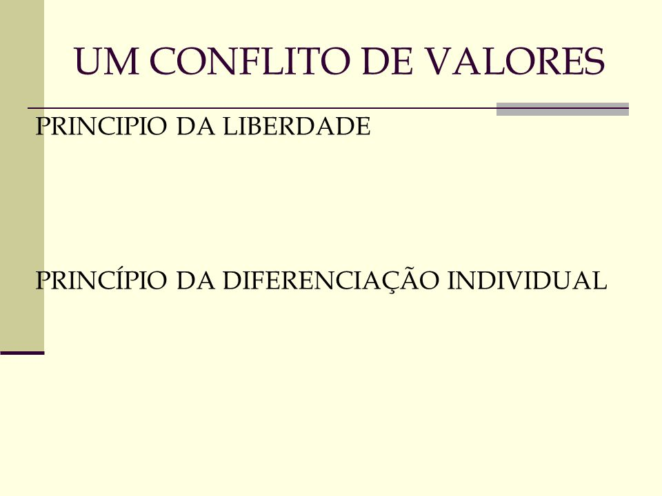 UM CONFLITO DE VALORES PRINCIPIO DA LIBERDADE PRINCÍPIO DA DIFERENCIAÇÃO INDIVIDUAL