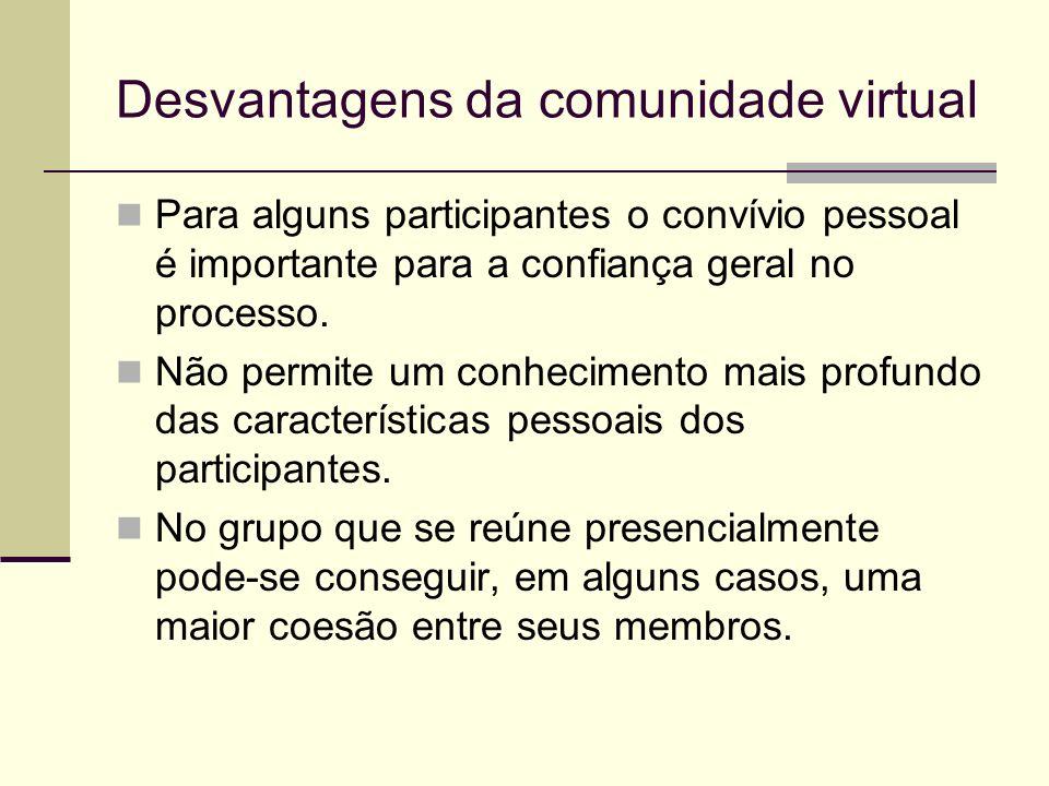 Desvantagens da comunidade virtual