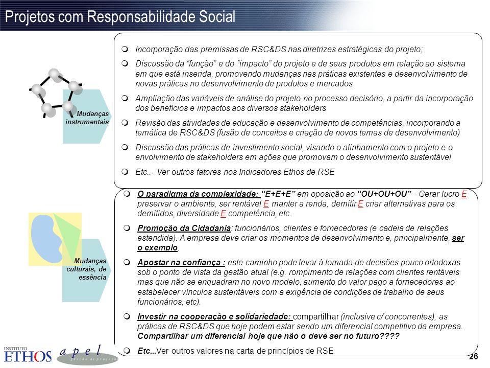 Projetos com Responsabilidade Social
