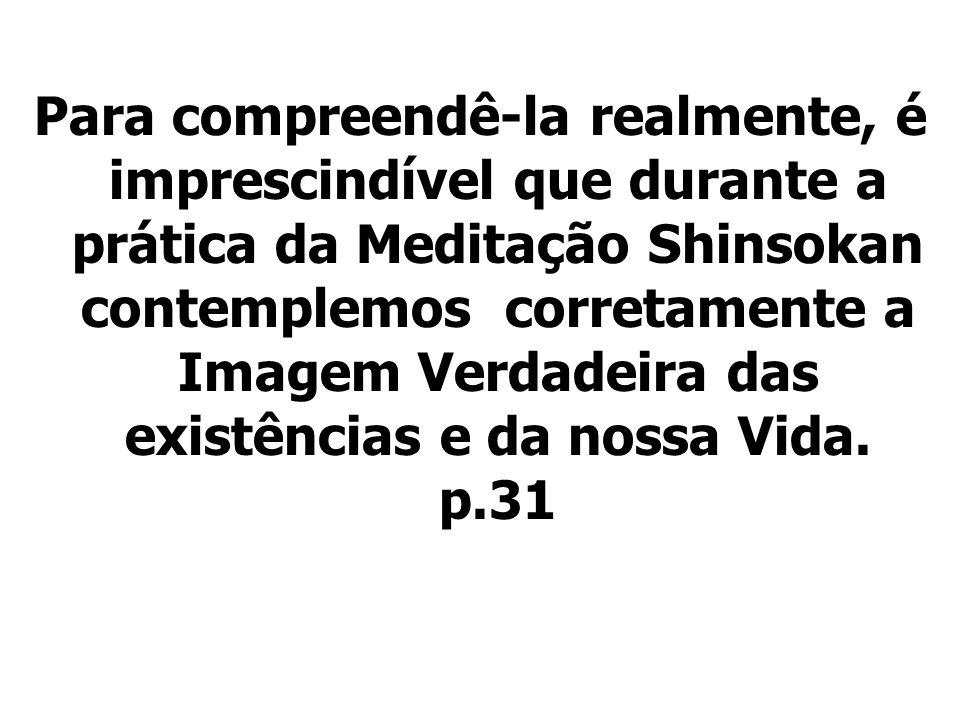 Para compreendê-la realmente, é imprescindível que durante a prática da Meditação Shinsokan contemplemos corretamente a Imagem Verdadeira das existências e da nossa Vida.