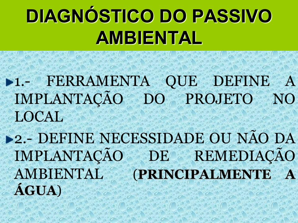 DIAGNÓSTICO DO PASSIVO AMBIENTAL