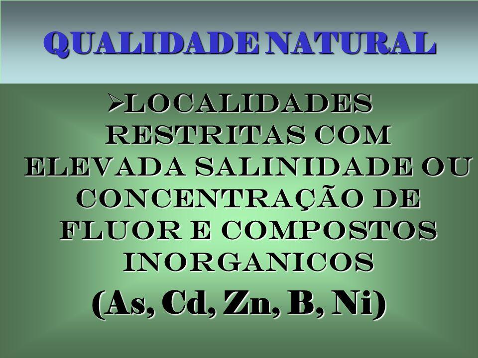 (As, Cd, Zn, B, Ni) QUALIDADE NATURAL