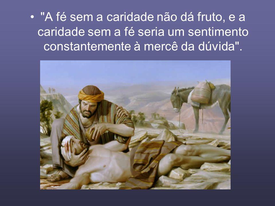 A fé sem a caridade não dá fruto, e a caridade sem a fé seria um sentimento constantemente à mercê da dúvida .