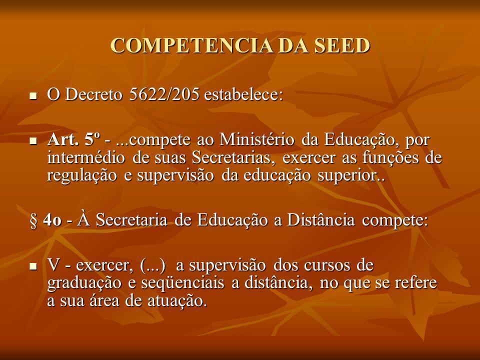 COMPETENCIA DA SEED O Decreto 5622/205 estabelece: