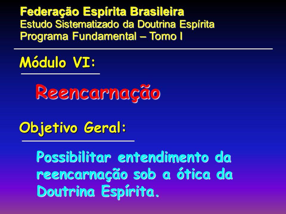 Reencarnação Módulo VI: Objetivo Geral: