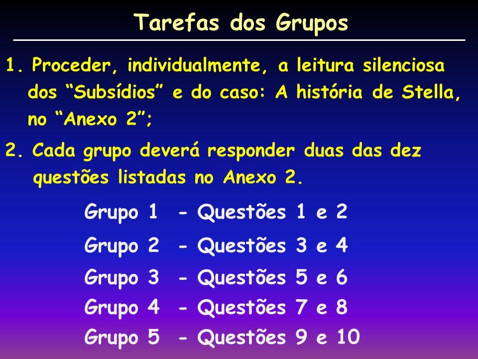 Tarefas dos Grupos Grupo 1 - Questões 1 e 2 Grupo 2 - Questões 3 e 4