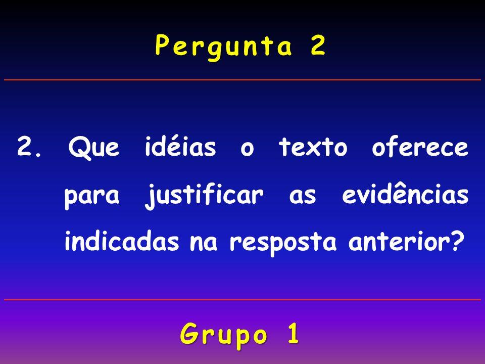 Pergunta 2 2. Que idéias o texto oferece para justificar as evidências indicadas na resposta anterior